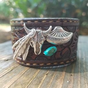 Jewelry - Sterling Cow Skull Turquoise Leather Cuff Bracelet